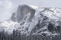 Just as the storm breaks during a whiteout at Half Dome - Yosemite National Park CA