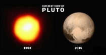 Just compare the technological improvement of these pictures of pluto to the black hole photo Imagine where well be in another  years