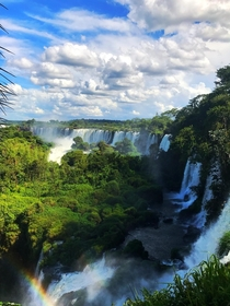 Just falls and a rainbow in the Iguazu Waterfalls on the Argentinean side