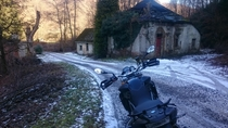 Just found this sub and thought Id share this entrance building to an abandoned German explosives factory Excuse the motorcycle I didnt think Id ever post it online