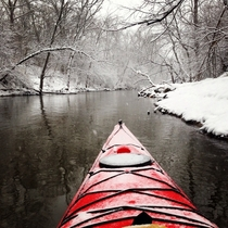 Just found this subreddit Took this picture last year while kayaking the Des Plaines River Illinois Cant wait for winter paddling this year