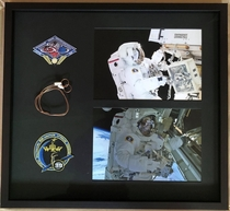 Just got this back from the framers A display with Expedition  and  patches flown to the ISS and a wire tie used on the EVA pictured to the right I got the items directly from astronaut Rick Mastracchio