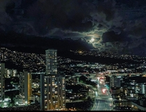 Just lookin out over Honolulu Hawaii I believe on full moon night City Lights with an all natural high  votefollowshare