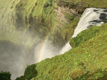 Just one of the zillion electric green waterfalls we saw Laugavegur Trail Skgar Iceland