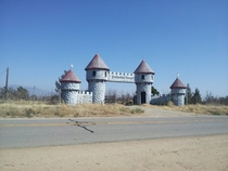 Just outside Bakersfield CA an enchanted forest christmas tree farm burned down The gates are all thats left