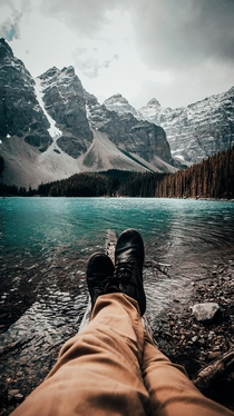 Just sitting by the dock of the bay Moraine Lake  OC