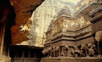 Kailasa temple in Ellora India from the th century is one of the largest rock-cut Hindu temples in the world Islamic invaders tried unsuccessfully to destroy it by employing over thousands of men for over three years but could not bring this temple down e