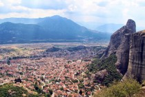 Kalabaka Greece taken from the Monastery of the Holy Trinity Meteora