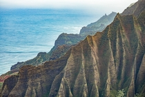 Kalalau Valleys Ridges just after sunrise - Kauai Hawaii