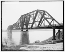 Kansas City amp Memphis Railroad bridge Memphis Tennessee  This was the first bridge ever attempted on the Lower Mississippi River Its -foot height above the water was the highest clearance of any US bridge of that era