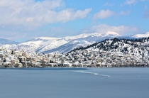 Kastoria Greece covered in snow