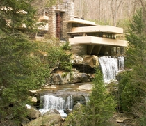 Kaufmann Residence is a house designed by architect Frank Lloyd Wright in  in rural southwestern Pennsylvania  miles southeast of Pittsburgh The home was built partly over a waterfall on Bear Run in the Mill Run section of Stewart Township Fayette County