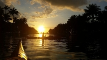 Kayaking in Miami at sunset