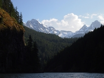 Kayaking on Lake Diablo in North Cascades National Park Washington USA