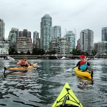 Kayaking through Downtown Vancouver