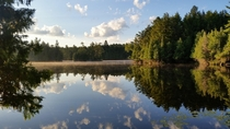 Kennabi Lake morning Haliburton Scout Reserve Ontario Canada