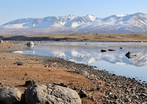 Khoton Nuur a remote lake at the Altai Tavan Bogd National Park Western Mongolia