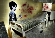 Kid With Axe - Gory Graffiti from Abandoned Hospital in Berlin Germany