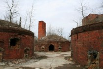 Kilns in a brick-making factory in Ohio