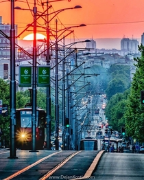 King Alexander Boulevard the longest street in Belgrade Serbia
