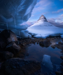 Kirkjufell from beneath the ice Iceland