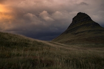 Kirkjufell the calm before the storm during the golden hour  x