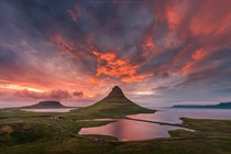 Kirkjufell under the midnight sun Iceland  photo by Coolbiere A x-post rsland