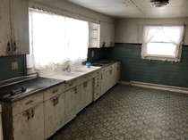 Kitchen in a house abandoned since