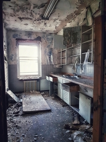 Kitchen in an abandoned mental hospital