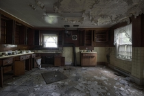 Kitchen Inside an Abandoned French Countryside Manor