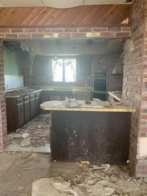 Kitchen inside an abandoned house