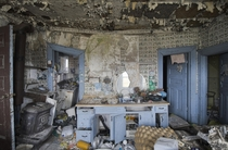 Kitchen Inside an Abandoned House that is Falling in on itself