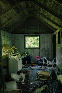 Kitchen of an abandoned bungalow outside of Boston