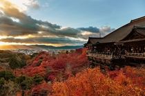 Kiyomizu-dera temple autumn sunset in Japan
