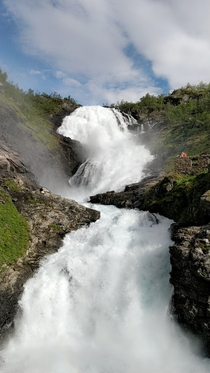 Kjossfossen waterfall in Norway visited with the Flm Line Railway