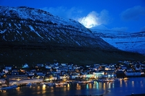 Klaksvk Faroe Islands by Night