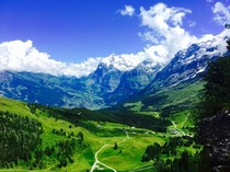 Kleine Scheidegg view over Grindelwald Switzerland  X