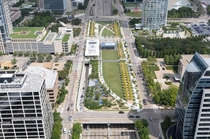 Klyde Warren Park- a deck park covering up  acres of the Woodall Rogers Freeway in Downtown Dallas
