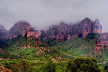 Kolob Canyons in Zion National Park on a rainy day