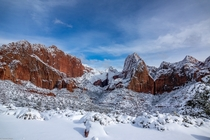Kolob Canyons NP UTAH after a mega snowstorm