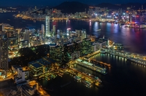 Kowloon and Hong Kong Island at night