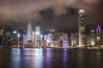 Kowloons view of Hong Kong island at night