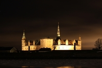 Kronborg at night from Elsinore Harbour  Denmark