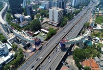 Kuningan Longspan part of LRT Jakarta Indonesia Said to be the longest span curved train bridge