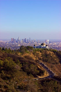 LA skyline from the Hollywood sign including Griffith Observatory From October