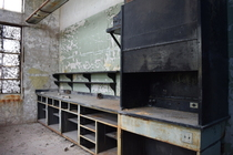 Lab workbench and fume hood inside an abandoned factory -- Maryland