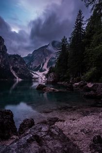Lago di Braies in Italy At the last seconds of this  sec exposure it started pouring down and the thunder was rolling through the mountains