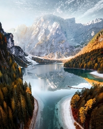 Lago di Braies Italy from Instagram kayvanhuisseling  - xpost from rMostBeautiful