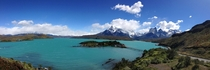 Lago Pehoe and the Torres Del Paine Cordillera in Chilean Patagonia