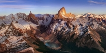 Lago Torre Cerro Torre and Mount Fitzroy massifs Andes South America Parque Nacional los Glaciares Patagonia Argentina Panoramic aerial capture  photo by Mike Reyfman